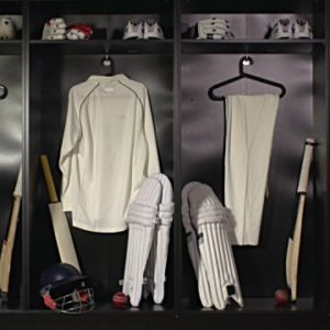 Stock HD video clip footage of a Cricket Locker room / Changing room with - Dolly motion